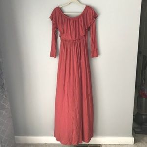 NWT Ruffle Front Red Maxi Dress